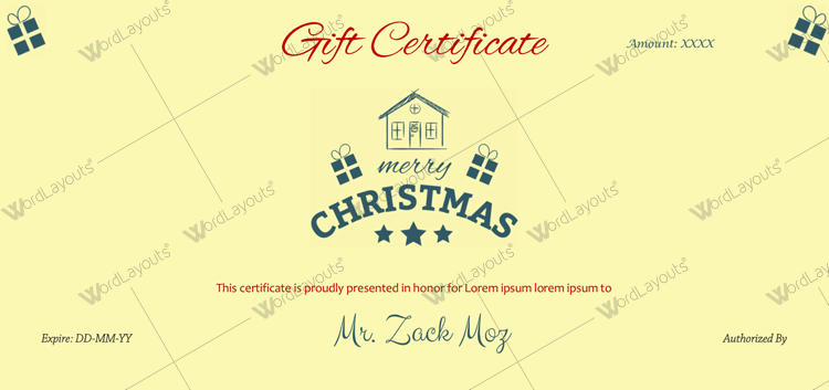Christmas Certificate (Home Stamp)