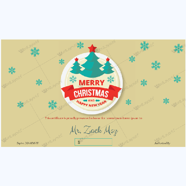 Christmas Certificate (Raining Snow)