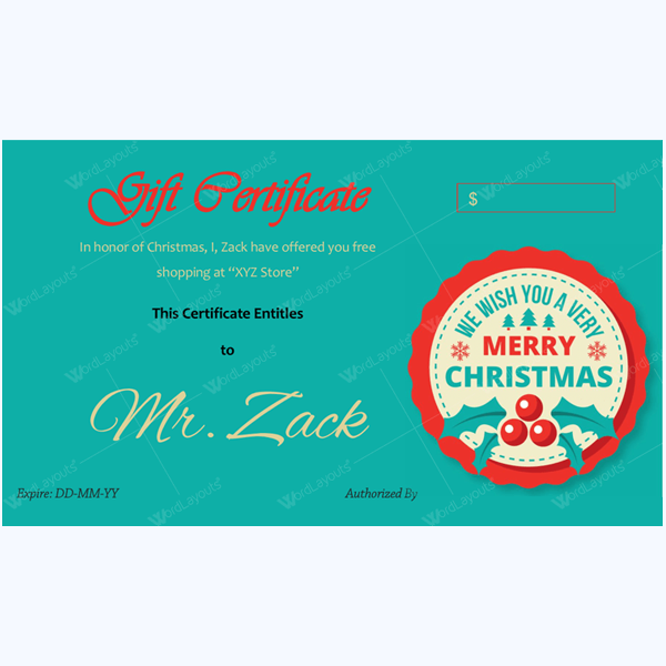 Christmas Certificate (Red Cherry)