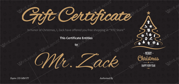 Christmas Certificate (Classic Black Background)
