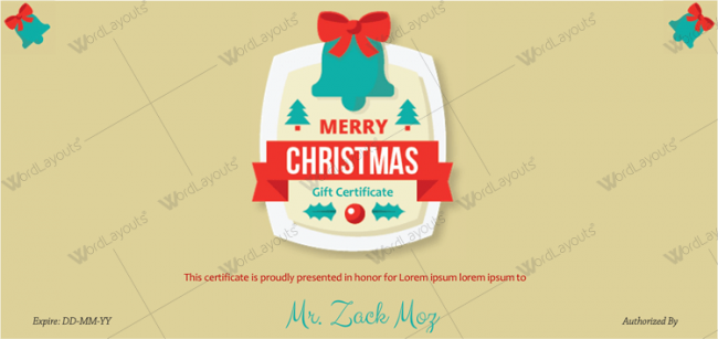 Christmas Certificate (Green Bells)