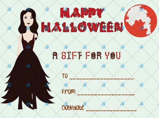 Vampire Themed Halloween Gift Certificate