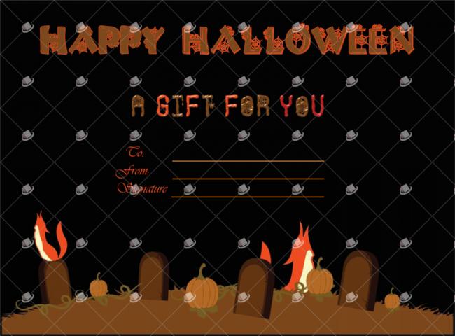 halloween gift certificate fox themed