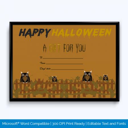 Printable Halloween Gift Certificate Template