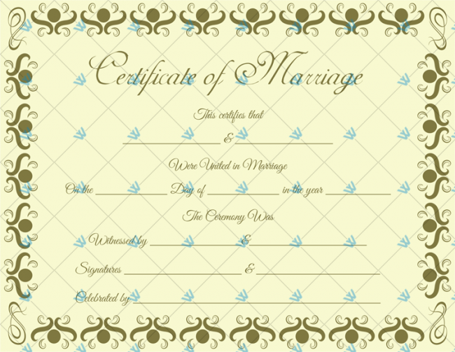 Free Fillable Marriage Certificate Template