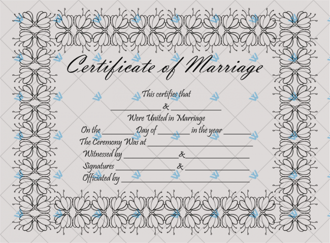 Fake Marriage Certificate Template