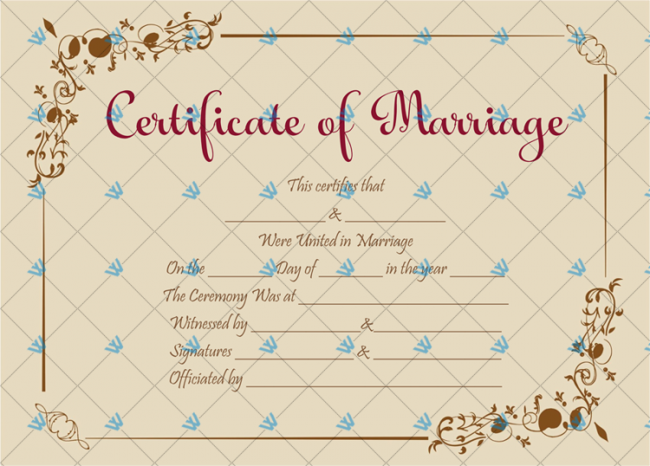 Free Printable Marriage Certificate Download