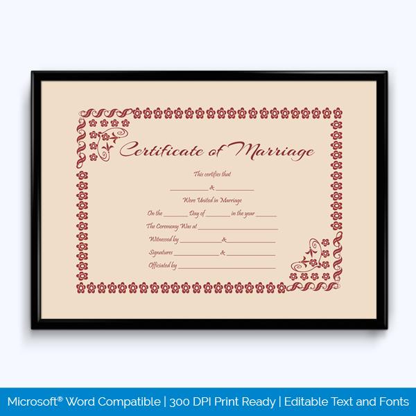 Fancy Marriage Certificate