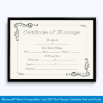 Marriage Certificate Editable Template