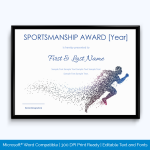 sports award certificate template word
