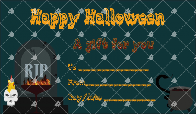 halloween gift certificate rip themed