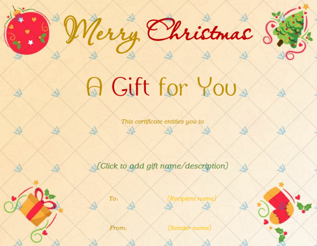Christmas Gift Certificate Format