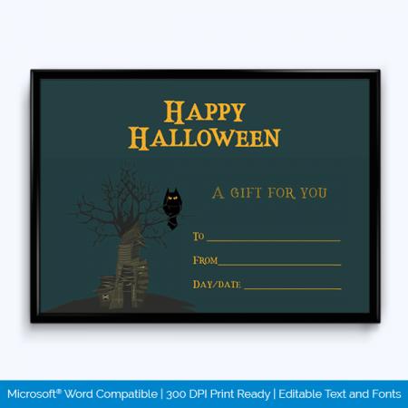 Halloween Gift Certifiacate