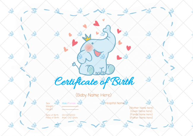 Birth-Certificate-Template---Elephant-Themed