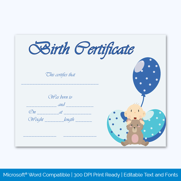 Birth-Certificate-Template-(Ballons,-#4336)-Preview
