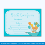 Birth-Certificate-Template-(Ballons,-#4375)-Preview
