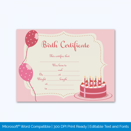 Birth-Certificate-Template-Cake