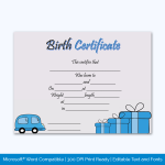 Birth-Certificate-Template-(Car,-#4344)-Preview