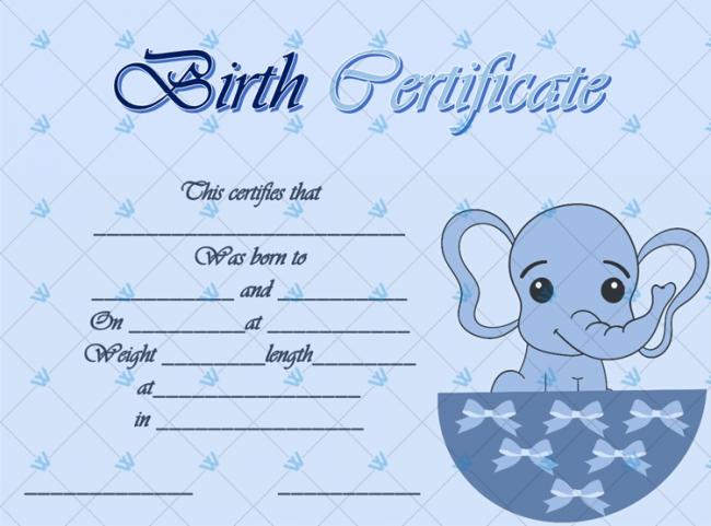 Birth-Certificate-Template-(Elephant,-#4347)