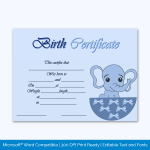Birth-Certificate-Template-(Elephant,-#4347).--Preview