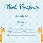 Birth-Certificate-Template-(Girrafe,-#4340)