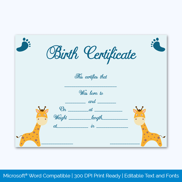 Birth-Certificate-Template-(Girrafe,-#4340)-Preview