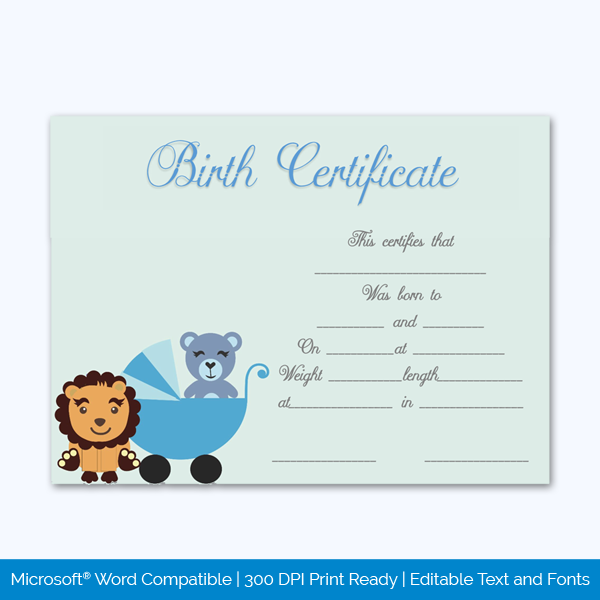 Birth-Certificate-Template-(Lion,-#4341)-Preview