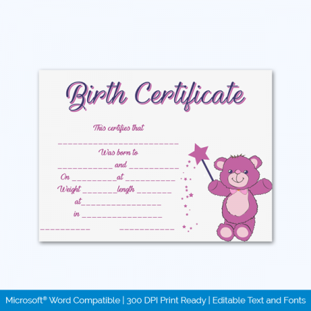 Birth-Certificate-Template-Magic-Bear