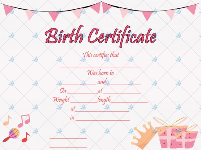 Birth-Certificate-Template-(Princess,-#4354)