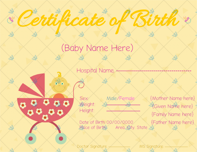 Birth-Certificate-Template-(-Yellow,Pink)