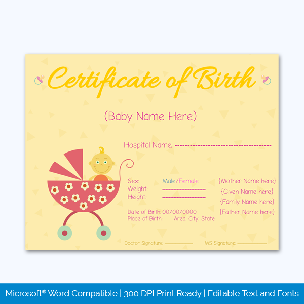 Birth-Certificate-Template-(-Yellow,Pink)-Preview