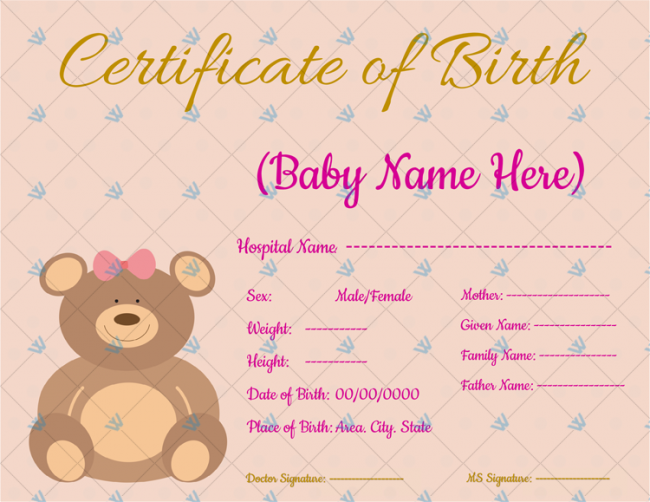 Birth-Certificate-Template-bear-Themed
