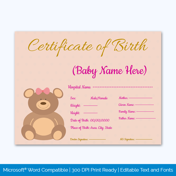 Birth-Certificate-Template-bear-Themed-Preview