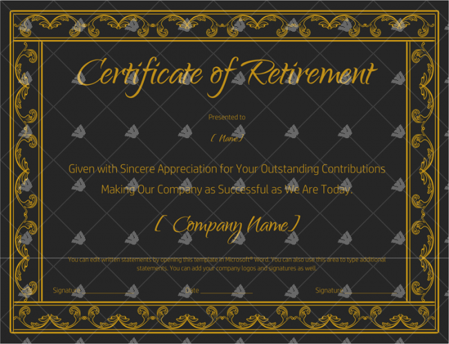 Certificate-of-Retirement-(#928)-Gold-in-Word