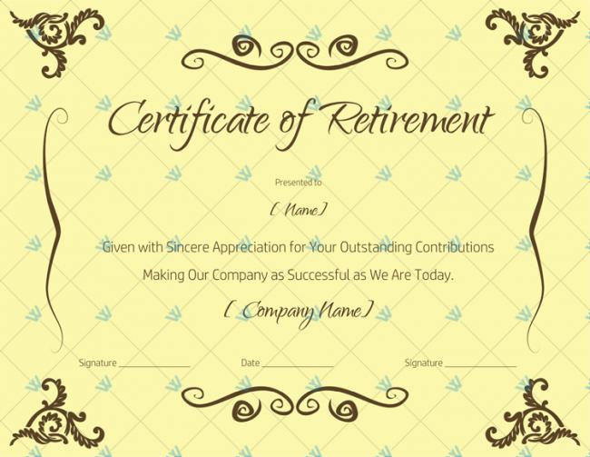 Certificate-of-Retirement-Sample-Wording