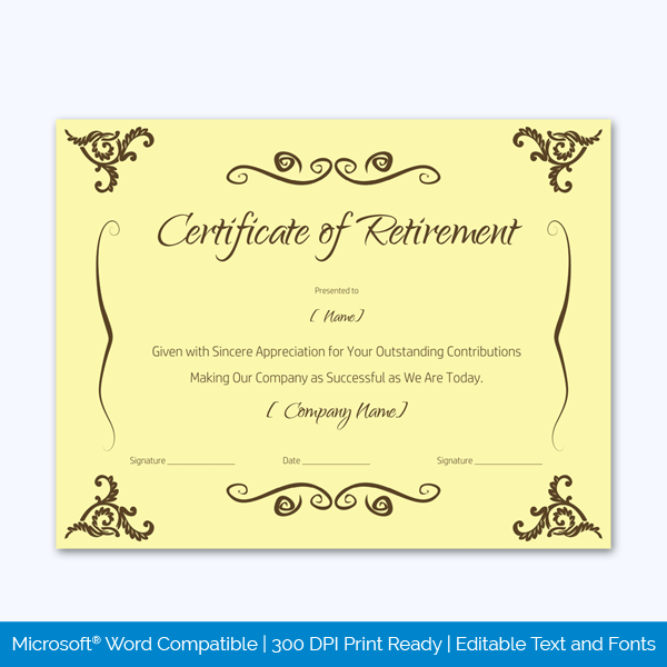certificate of retirement for employee