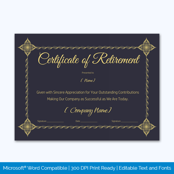 Free Retirement Certificate Templates For Word