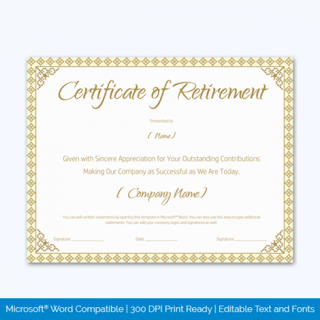 Editable Retirement Certificate
