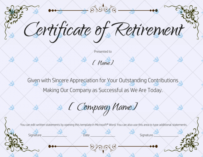 Editable Retirement Certificate