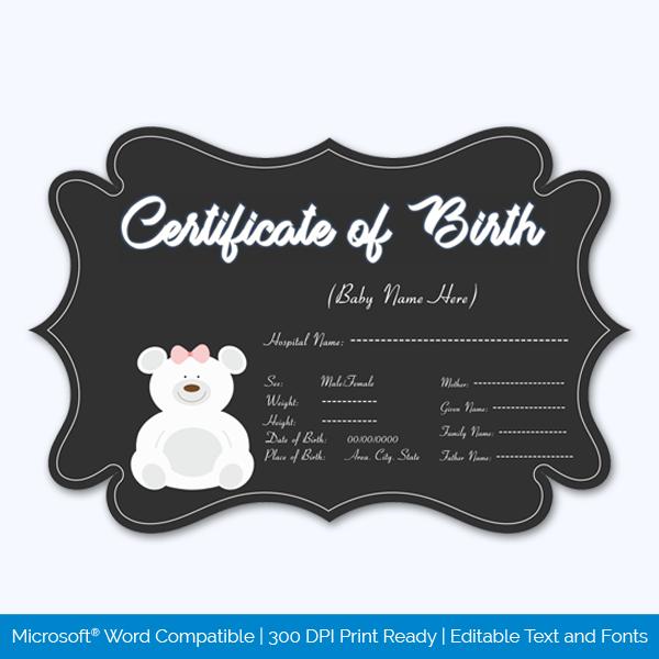6 Teddy Bear Birth Certificate Template 63821: Teddy Bear Themed Birth Certificate