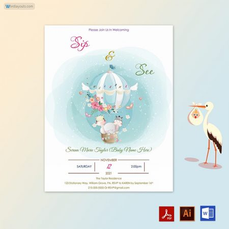 Free Sip and See Invitation Sample