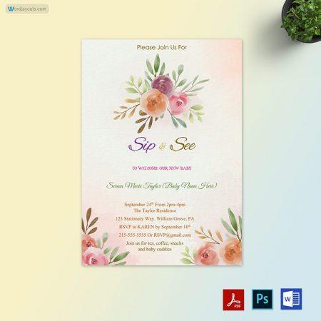 Print Free Sip and See Invitation
