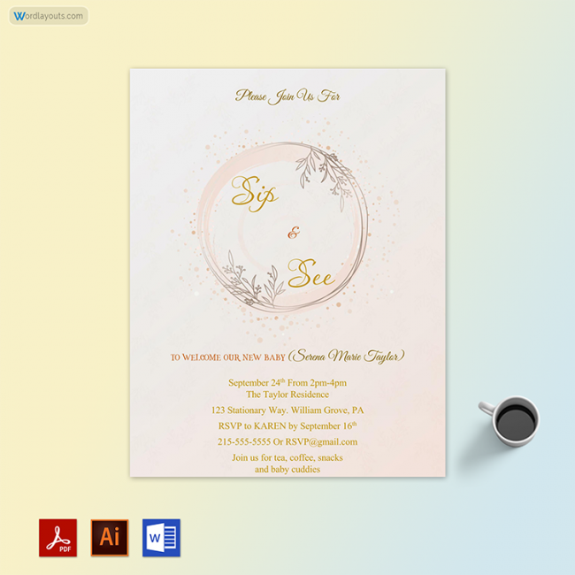 Editable Sip and See Party Invitation