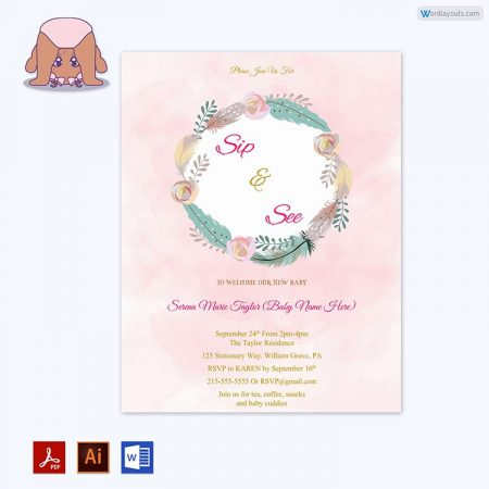 Printable Sip and See Invitation Word Format