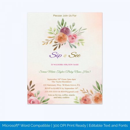 Sip And See Invitations Etsy