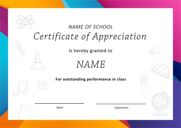 Appreciation Award certificate Example 01