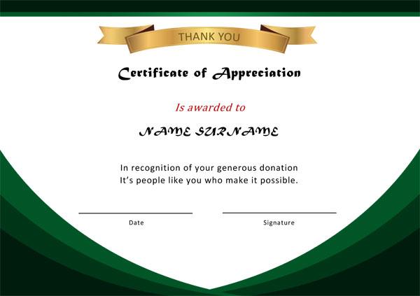 Appreciation Award certificate Example 02