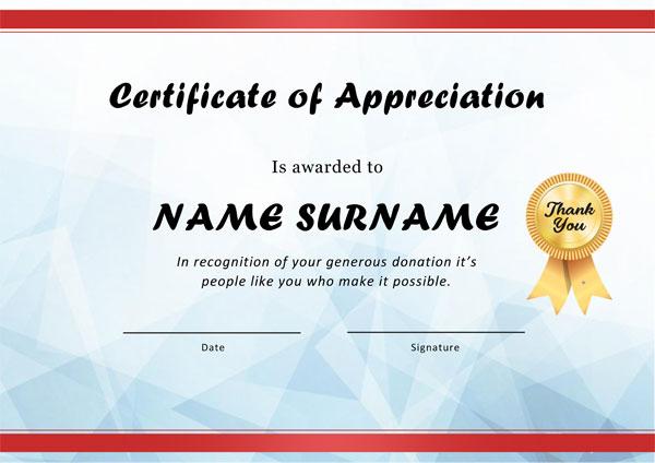 Appreciation Award certificate Example 03