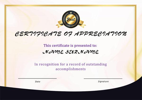 Appreciation Award certificate Example 04