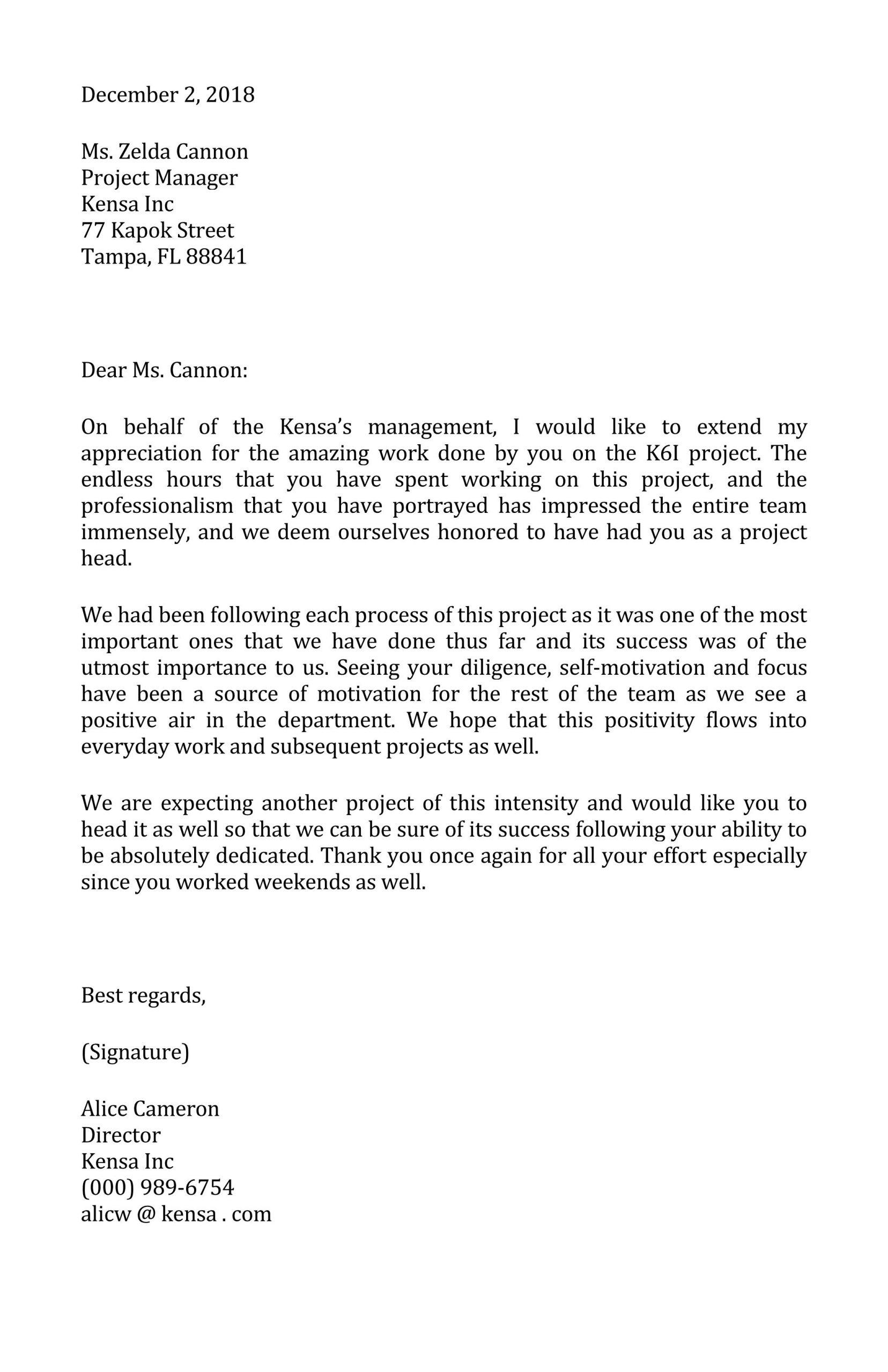 Appreciation Letter Template 02